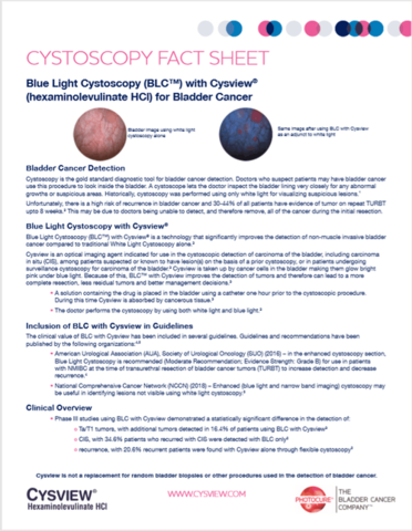 Patient education about Blue Light Cystoscopy with Cysview