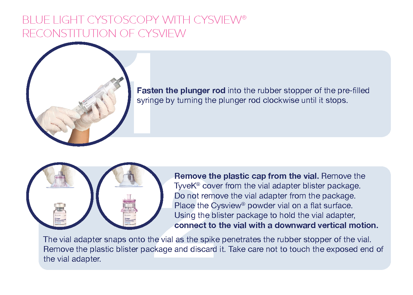 Cysview for bladder cancer cystoscopy procedure reconstitution brochure