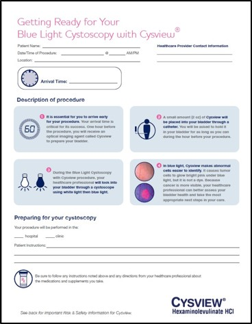 Patient info about Blue Light Cystoscopy with Cysview